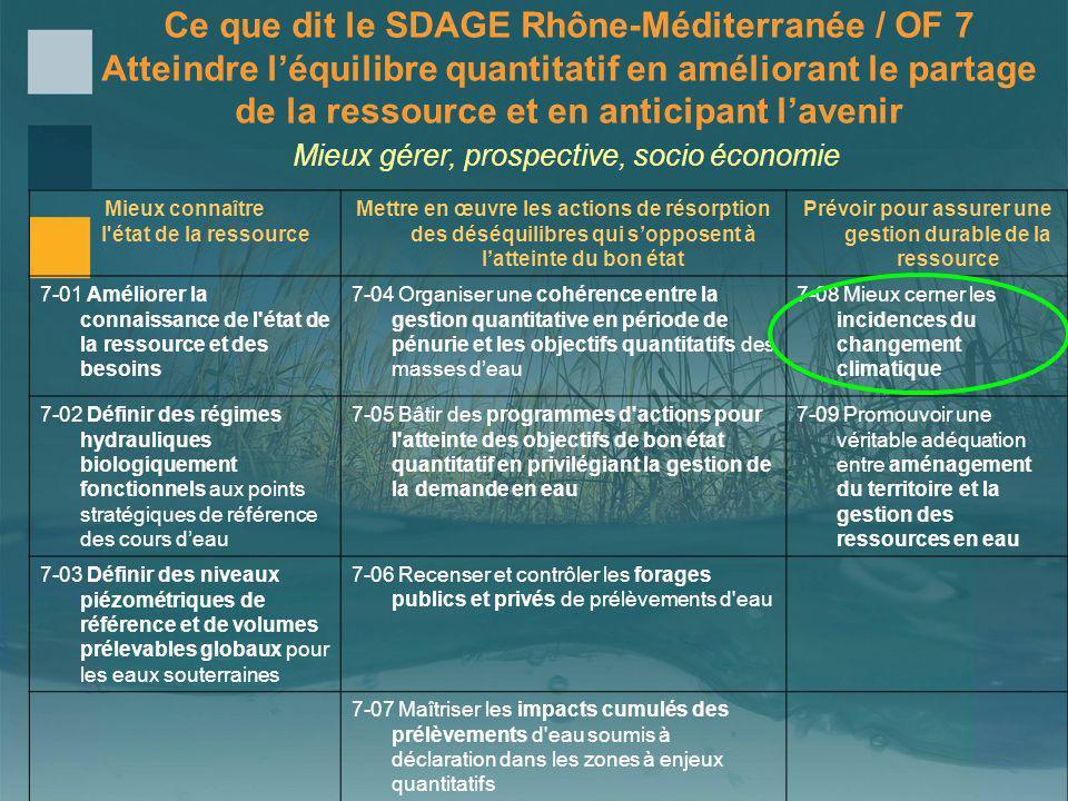 Ce que dit le SDAGE Rhône-Méditerranée / OF 7 Atteindre léquilibre quantitatif en améliorant le partage de la ressource et en anticipant lavenir Mieux gérer, prospective, socio économie Mieux connaître l état de la ressource Mettre en œuvre les actions de résorption des déséquilibres qui sopposent à latteinte du bon état Prévoir pour assurer une gestion durable de la ressource 7-01 Améliorer la connaissance de l état de la ressource et des besoins 7-04 Organiser une cohérence entre la gestion quantitative en période de pénurie et les objectifs quantitatifs des masses deau 7-08 Mieux cerner les incidences du changement climatique 7-02 Définir des régimes hydrauliques biologiquement fonctionnels aux points stratégiques de référence des cours deau 7-05 Bâtir des programmes d actions pour l atteinte des objectifs de bon état quantitatif en privilégiant la gestion de la demande en eau 7-09 Promouvoir une véritable adéquation entre aménagement du territoire et la gestion des ressources en eau 7-03 Définir des niveaux piézométriques de référence et de volumes prélevables globaux pour les eaux souterraines 7-06 Recenser et contrôler les forages publics et privés de prélèvements d eau 7-07 Maîtriser les impacts cumulés des prélèvements d eau soumis à déclaration dans les zones à enjeux quantitatifs