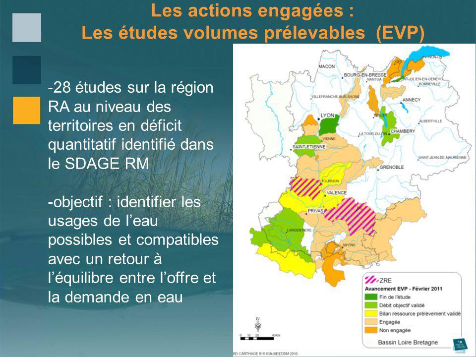 Les actions engagées : Les études volumes prélevables (EVP) -28 études sur la région RA au niveau des territoires en déficit quantitatif identifié dan