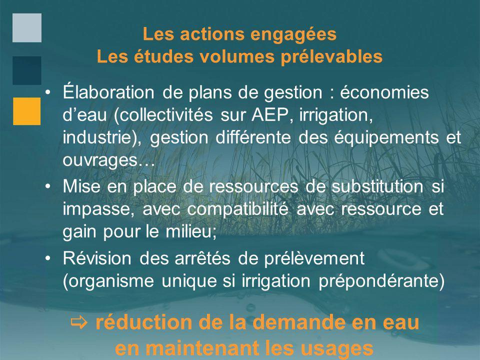 Les actions engagées Les études volumes prélevables Élaboration de plans de gestion : économies deau (collectivités sur AEP, irrigation, industrie), g