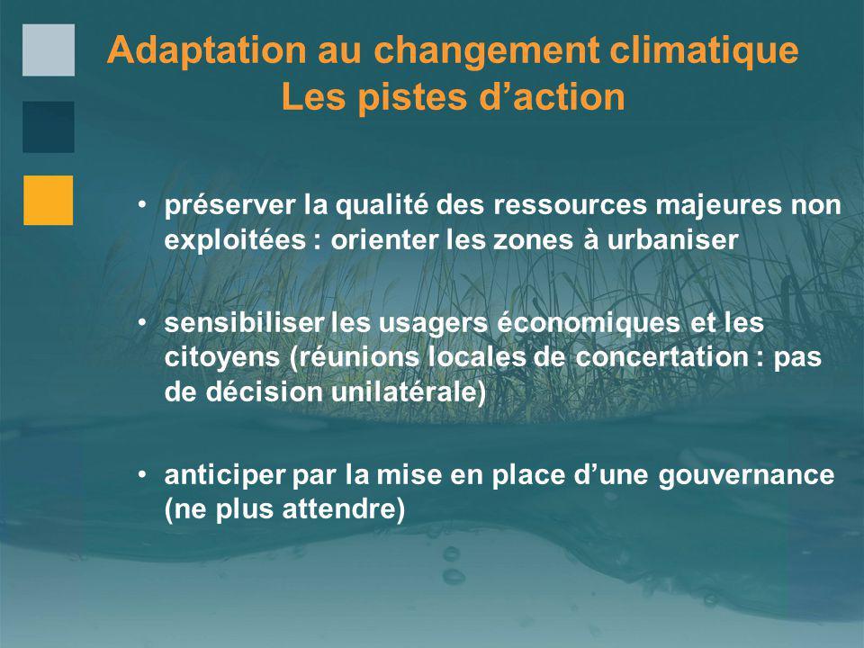 préserver la qualité des ressources majeures non exploitées : orienter les zones à urbaniser sensibiliser les usagers économiques et les citoyens (réu