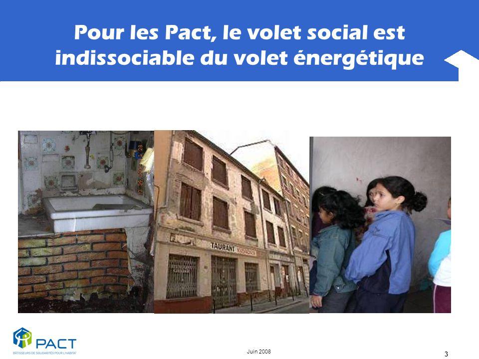 Juin 2008 3 Pour les Pact, le volet social est indissociable du volet énergétique