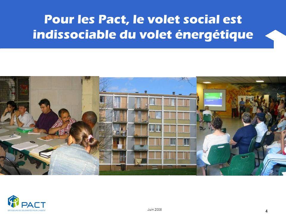 Juin 2008 4 Pour les Pact, le volet social est indissociable du volet énergétique