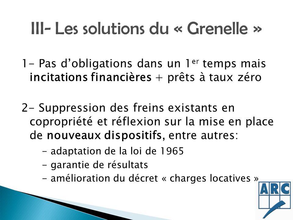 III- Les solutions du « Grenelle » 1- Pas dobligations dans un 1 er temps mais incitations financières + prêts à taux zéro 2- Suppression des freins e