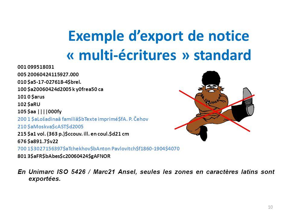 Exemple dexport de notice « multi-écritures » standard 001 099518031 005 20060424115927.000 010 $a5-17-027618-4$brel. 100 $a20060424d2005 k y0frea50 c