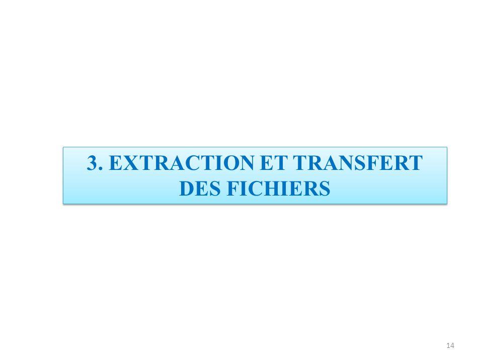 3. EXTRACTION ET TRANSFERT DES FICHIERS 14
