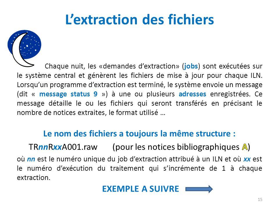 Lextraction des fichiers EXEMPLE A SUIVRE 15