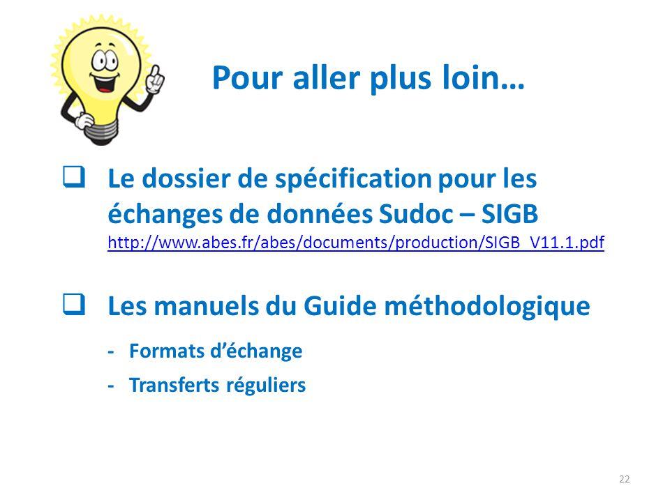 Pour aller plus loin… Le dossier de spécification pour les échanges de données Sudoc – SIGB http://www.abes.fr/abes/documents/production/SIGB_V11.1.pd