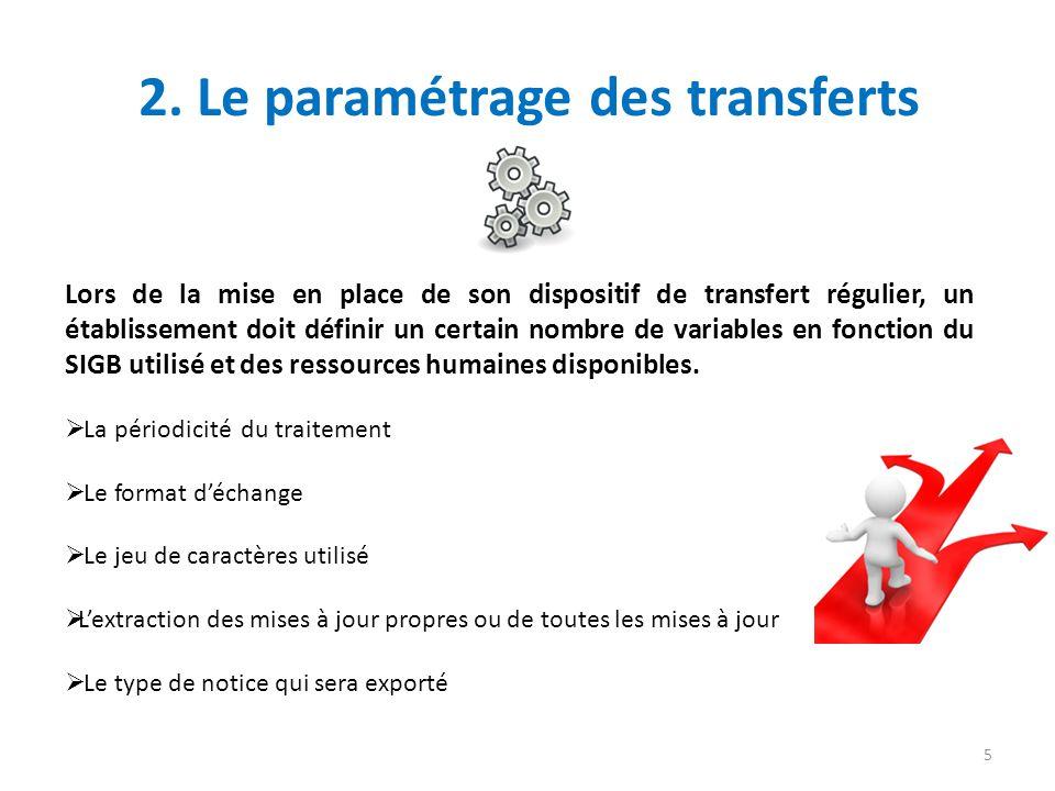 2. Le paramétrage des transferts Lors de la mise en place de son dispositif de transfert régulier, un établissement doit définir un certain nombre de