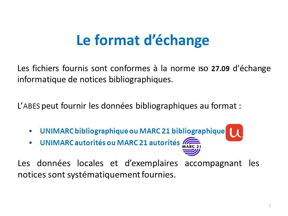 Les fichiers fournis sont conformes à la norme ISO 27.09 d'échange informatique de notices bibliographiques. L ABES peut fournir les données bibliogra