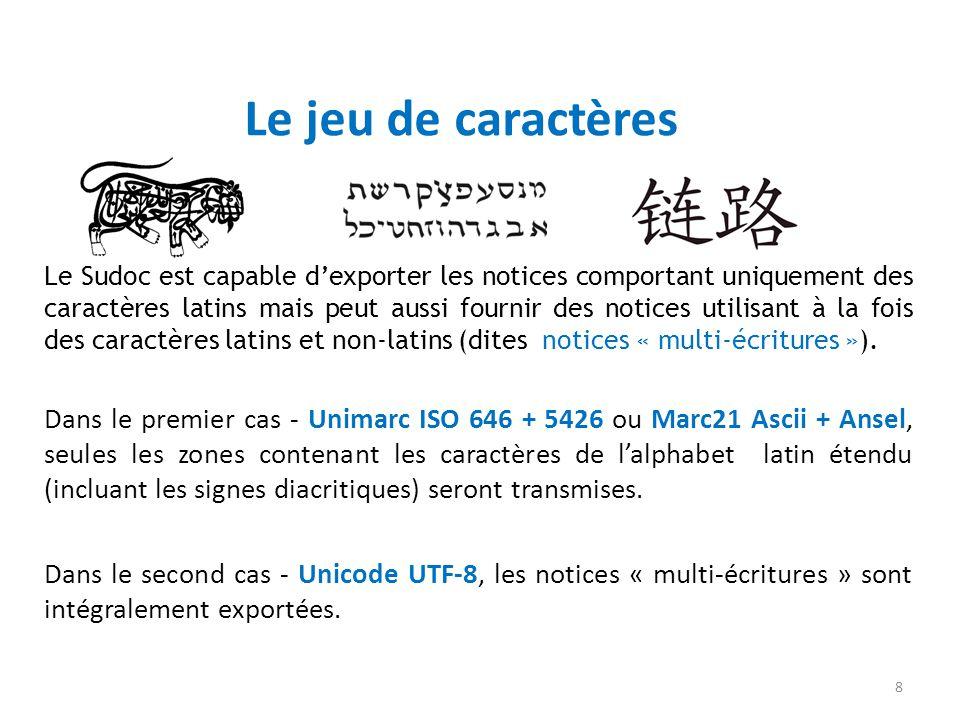 Le jeu de caractères Le Sudoc est capable dexporter les notices comportant uniquement des caractères latins mais peut aussi fournir des notices utilis