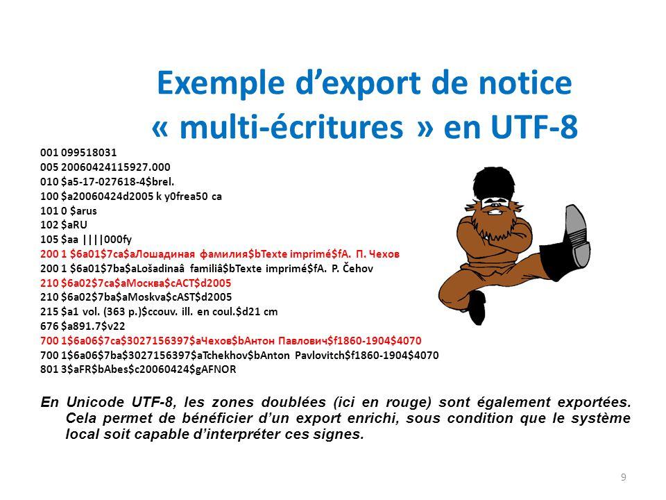 Exemple dexport de notice « multi-écritures » en UTF-8 001 099518031 005 20060424115927.000 010 $a5-17-027618-4$brel. 100 $a20060424d2005 k y0frea50 c