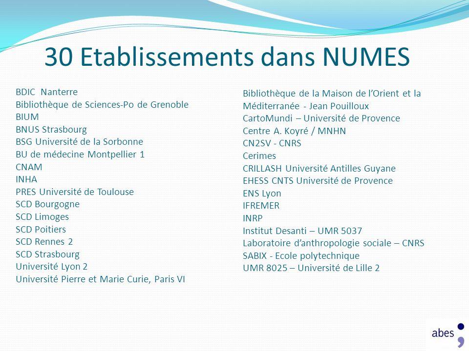 30 Etablissements dans NUMES BDIC Nanterre Bibliothèque de Sciences-Po de Grenoble BIUM BNUS Strasbourg BSG Université de la Sorbonne BU de médecine M