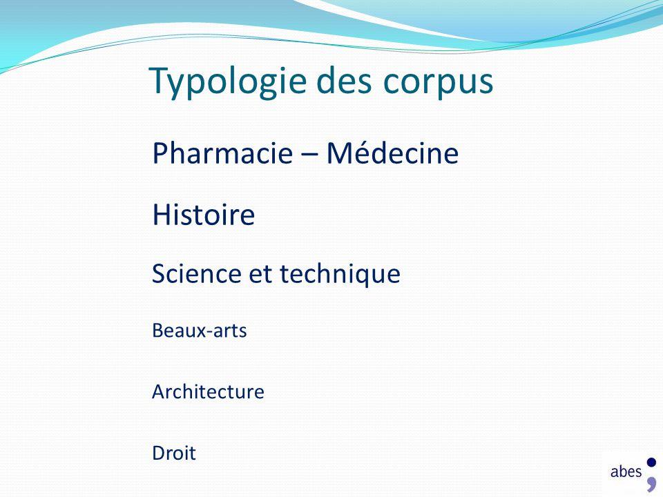 Typologie des corpus Pharmacie – Médecine Histoire Science et technique Beaux-arts Architecture Droit