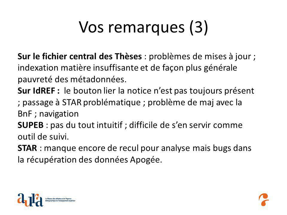 Vos remarques (3) Sur le fichier central des Thèses : problèmes de mises à jour ; indexation matière insuffisante et de façon plus générale pauvreté des métadonnées.