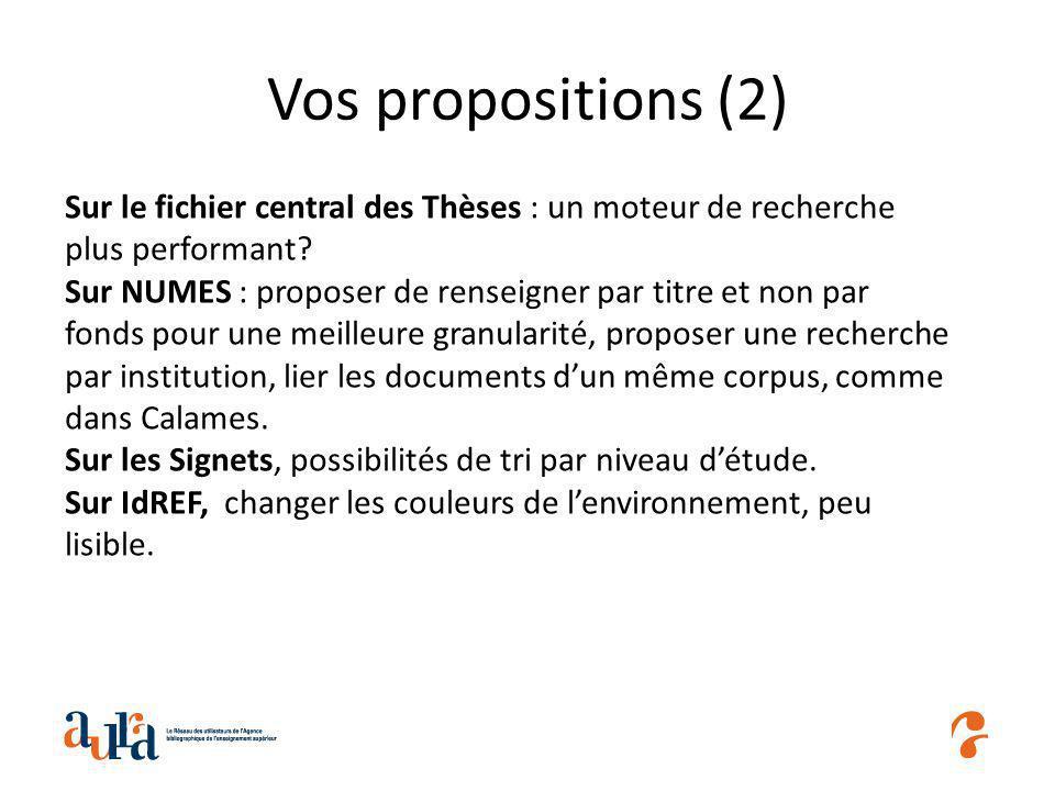 Vos propositions (2) Sur le fichier central des Thèses : un moteur de recherche plus performant.