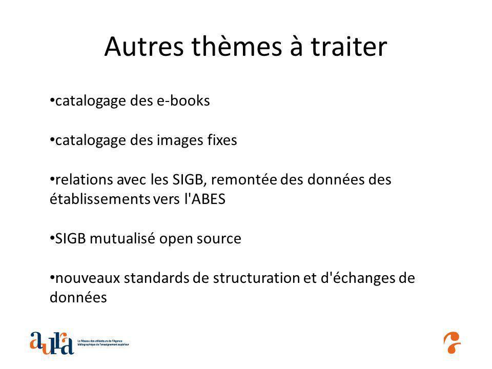 Autres thèmes à traiter catalogage des e-books catalogage des images fixes relations avec les SIGB, remontée des données des établissements vers l ABES SIGB mutualisé open source nouveaux standards de structuration et d échanges de données