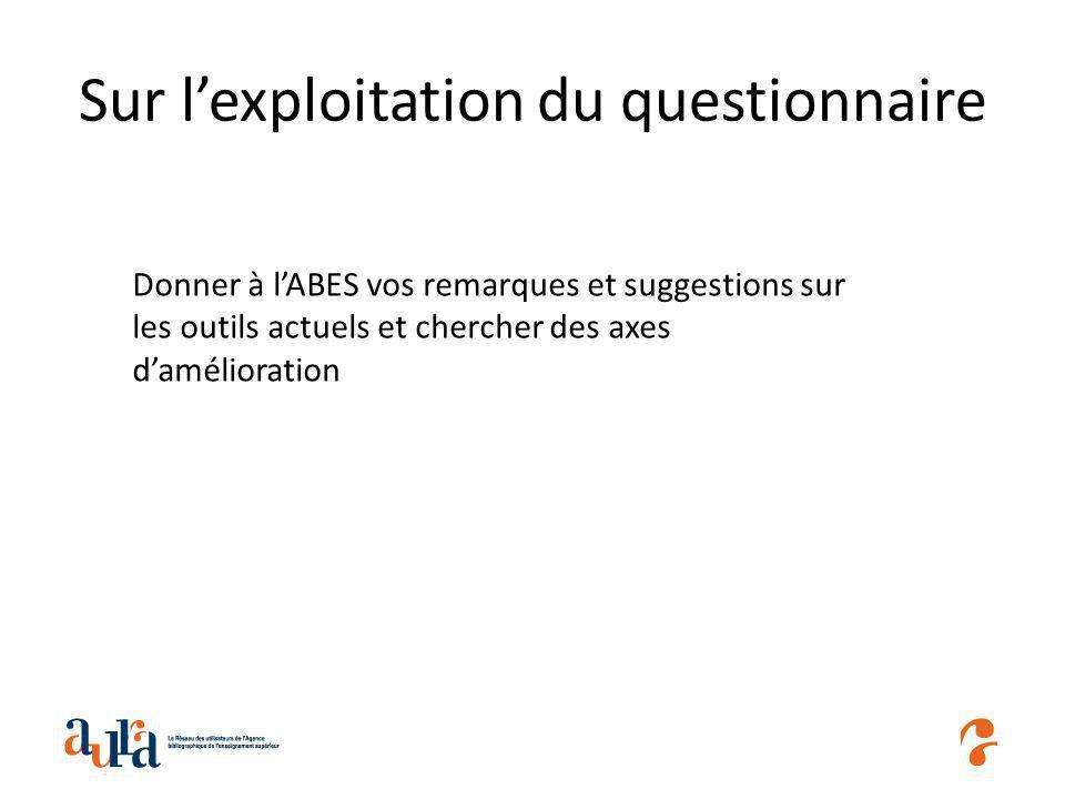 Sur lexploitation du questionnaire Donner à lABES vos remarques et suggestions sur les outils actuels et chercher des axes damélioration