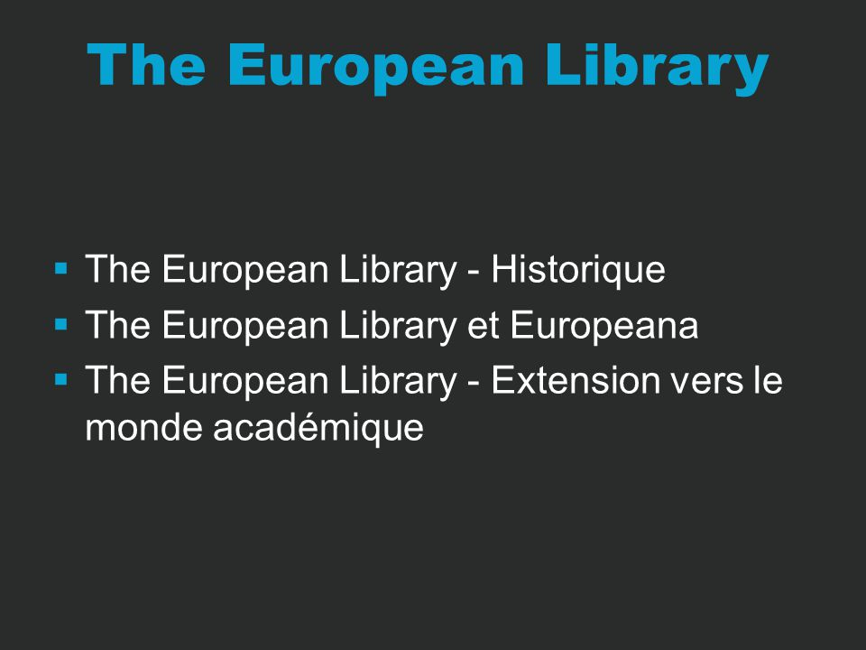 The European Library – Lancement en 2005