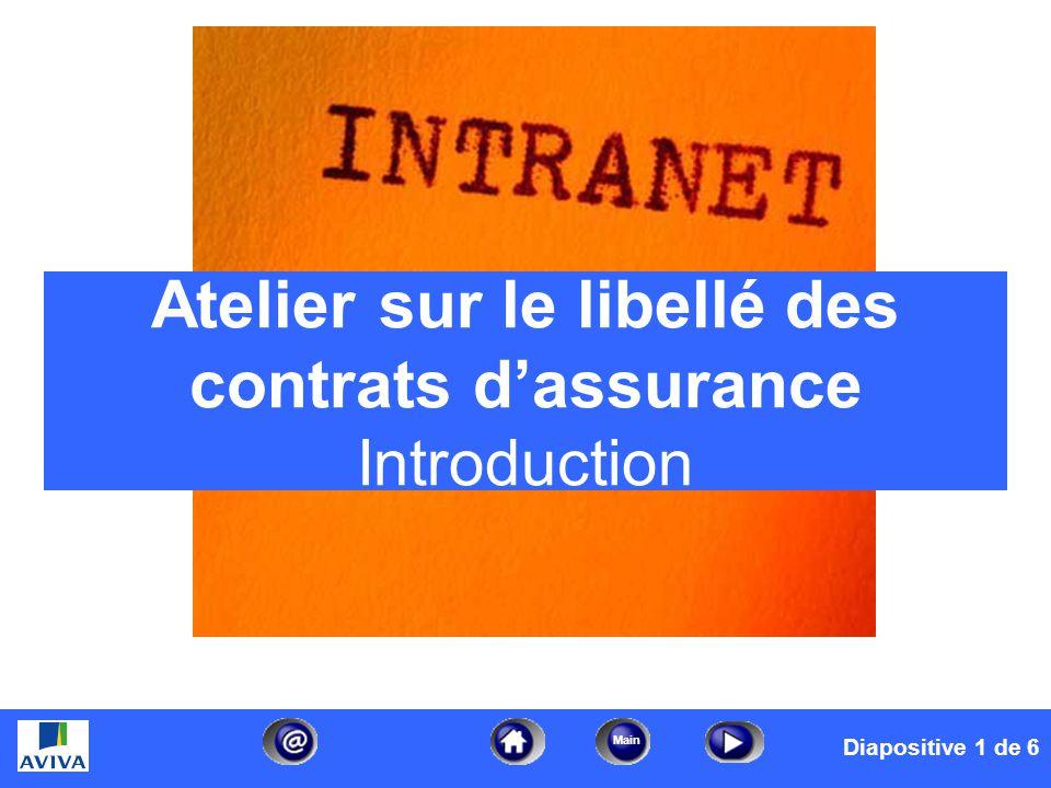 date/timefooter1 Main Atelier sur le libellé des contrats dassurance – Introduction Diapositive 1 de 6 Service de la formation en indemnisation – 2005