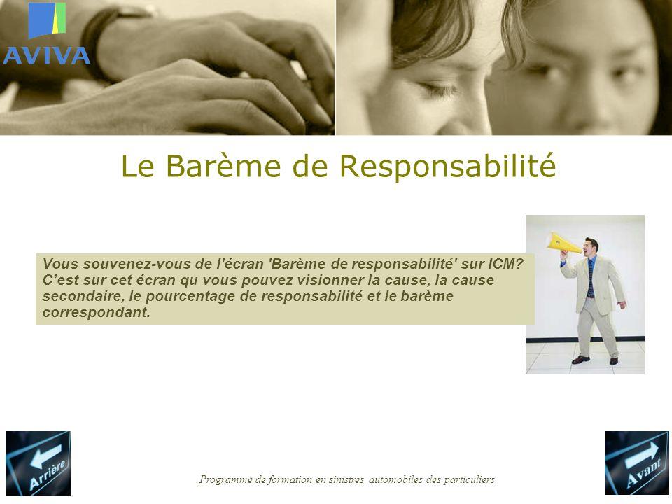 Programme de formation en sinistres automobiles des particuliers Le Barème de Responsabilité Vous souvenez-vous de l écran Barème de responsabilité sur ICM.