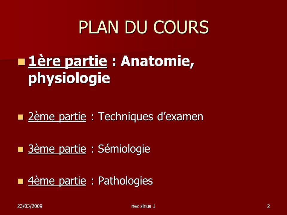 23/03/2009nez sinus 12 PLAN DU COURS 1ère partie : Anatomie, physiologie 1ère partie : Anatomie, physiologie 2ème partie : Techniques dexamen 2ème par