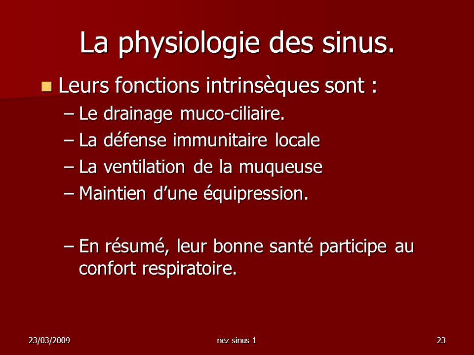 23/03/2009nez sinus 123 La physiologie des sinus. Leurs fonctions intrinsèques sont : Leurs fonctions intrinsèques sont : –Le drainage muco-ciliaire.