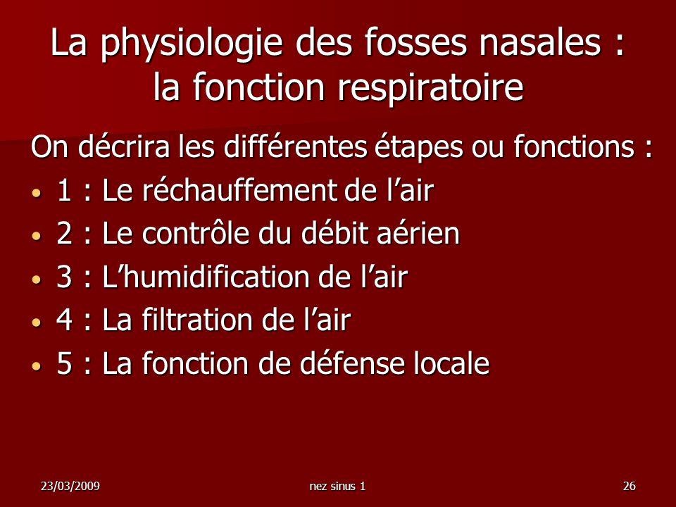 23/03/2009nez sinus 126 La physiologie des fosses nasales : la fonction respiratoire On décrira les différentes étapes ou fonctions : 1 : Le réchauffe