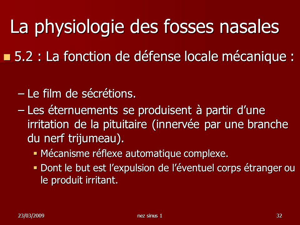 23/03/2009nez sinus 132 La physiologie des fosses nasales 5.2 : La fonction de défense locale mécanique : 5.2 : La fonction de défense locale mécaniqu