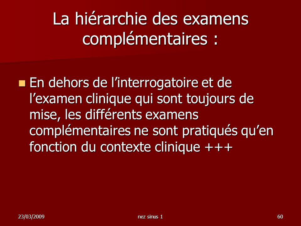 23/03/2009nez sinus 160 La hiérarchie des examens complémentaires : En dehors de linterrogatoire et de lexamen clinique qui sont toujours de mise, les