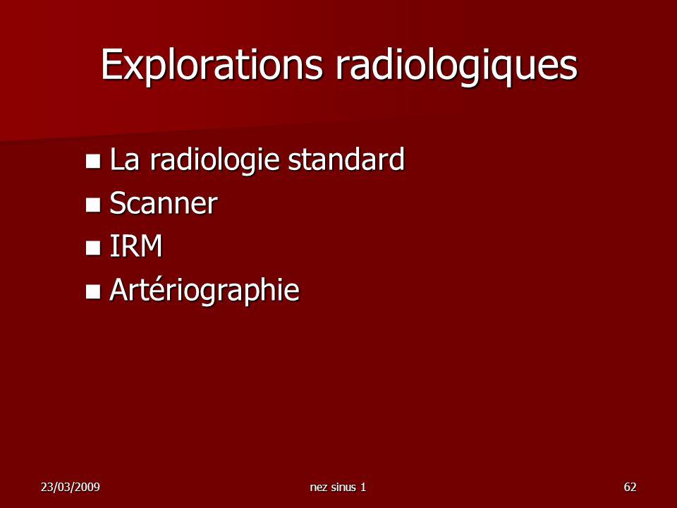 23/03/2009nez sinus 162 La radiologie standard La radiologie standard Scanner Scanner IRM IRM Artériographie Artériographie Explorations radiologiques