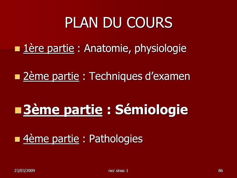 23/03/2009nez sinus 186 PLAN DU COURS 1ère partie : Anatomie, physiologie 1ère partie : Anatomie, physiologie 2ème partie : Techniques dexamen 2ème pa