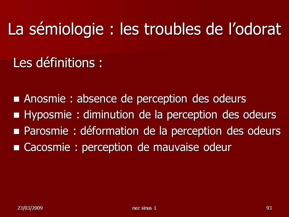23/03/2009nez sinus 193 La sémiologie : les troubles de lodorat Les définitions : Anosmie : absence de perception des odeurs Anosmie : absence de perc