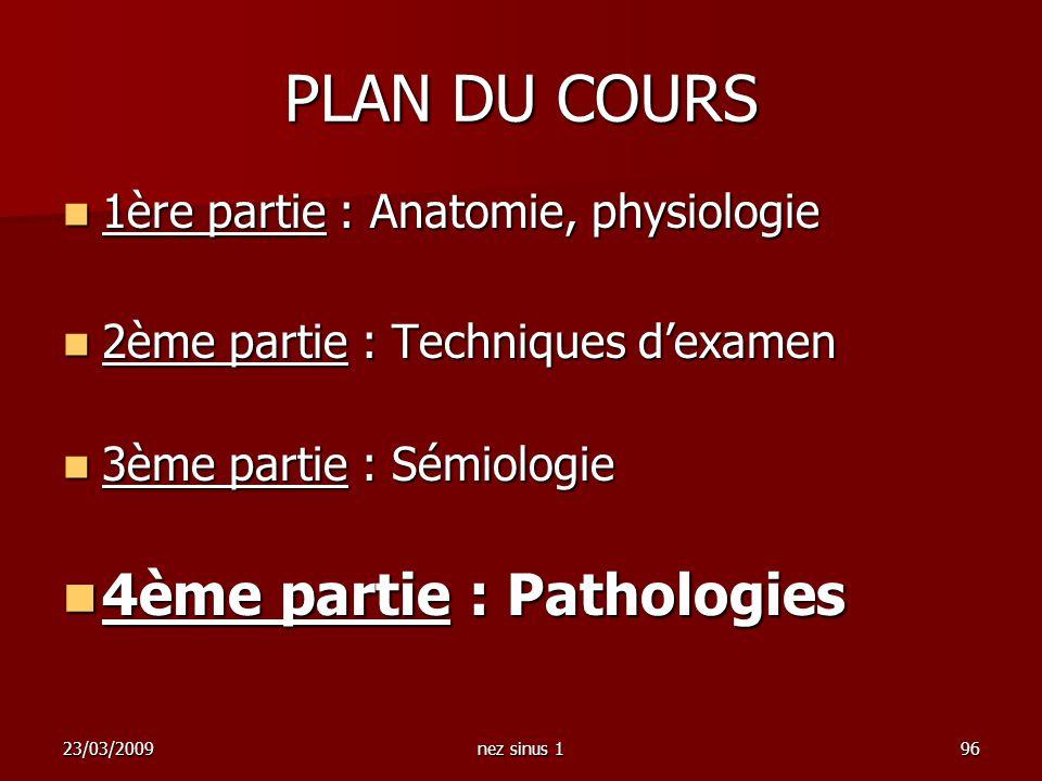 23/03/2009nez sinus 196 PLAN DU COURS 1ère partie : Anatomie, physiologie 1ère partie : Anatomie, physiologie 2ème partie : Techniques dexamen 2ème pa