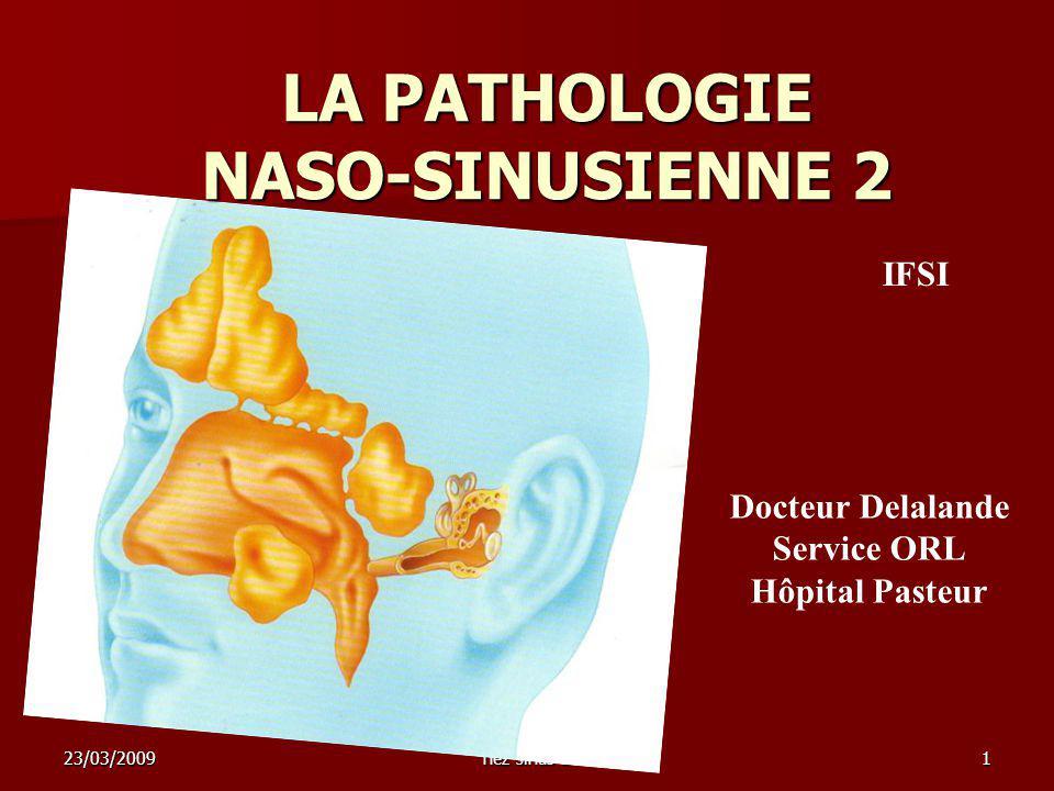 23/03/2009nez sinus 21 LA PATHOLOGIE NASO-SINUSIENNE 2 Docteur Delalande Service ORL Hôpital Pasteur IFSI