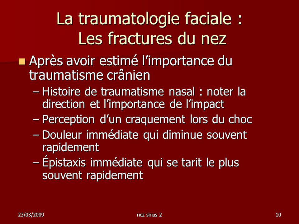 23/03/2009nez sinus 210 La traumatologie faciale : Les fractures du nez Après avoir estimé limportance du traumatisme crânien Après avoir estimé limpo