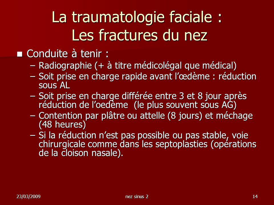 23/03/2009nez sinus 214 La traumatologie faciale : Les fractures du nez Conduite à tenir : Conduite à tenir : –Radiographie (+ à titre médicolégal que