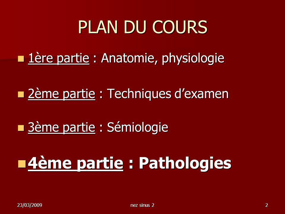 23/03/2009nez sinus 22 PLAN DU COURS 1ère partie : Anatomie, physiologie 1ère partie : Anatomie, physiologie 2ème partie : Techniques dexamen 2ème par