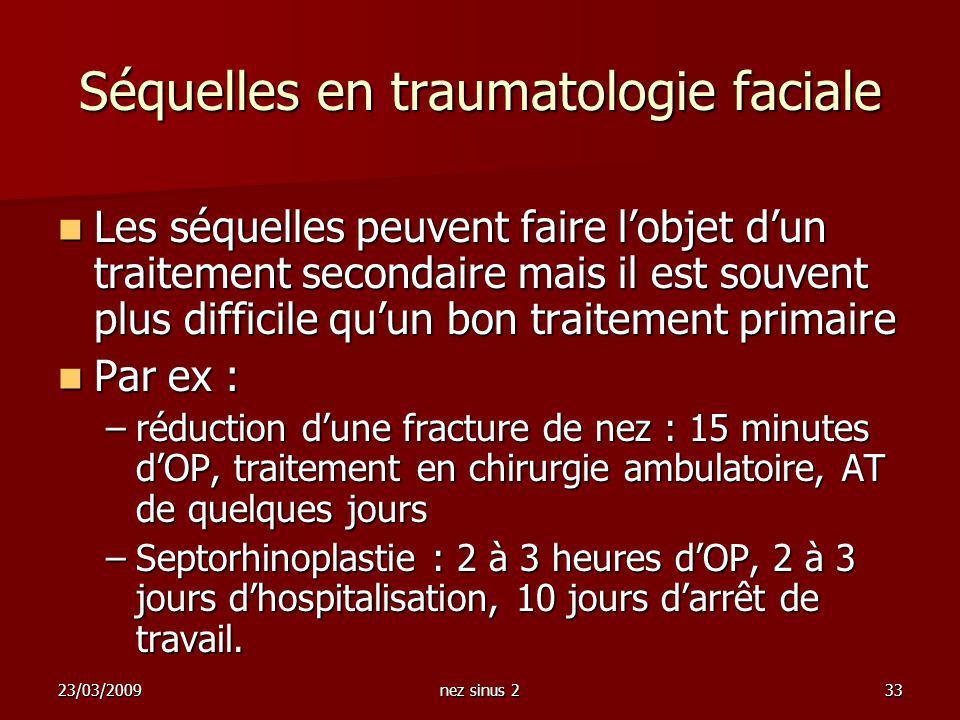 23/03/2009nez sinus 233 Séquelles en traumatologie faciale Les séquelles peuvent faire lobjet dun traitement secondaire mais il est souvent plus diffi