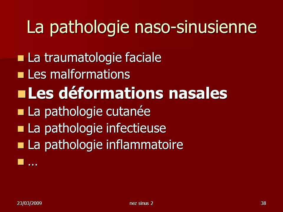 23/03/2009nez sinus 238 La pathologie naso-sinusienne La traumatologie faciale La traumatologie faciale Les malformations Les malformations Les déform