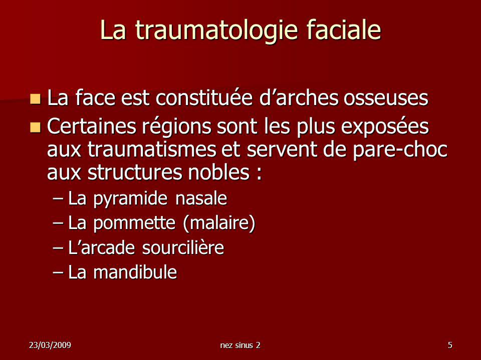 23/03/2009nez sinus 25 La traumatologie faciale La face est constituée darches osseuses La face est constituée darches osseuses Certaines régions sont