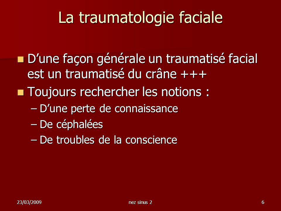 23/03/2009nez sinus 26 La traumatologie faciale Dune façon générale un traumatisé facial est un traumatisé du crâne +++ Dune façon générale un traumat