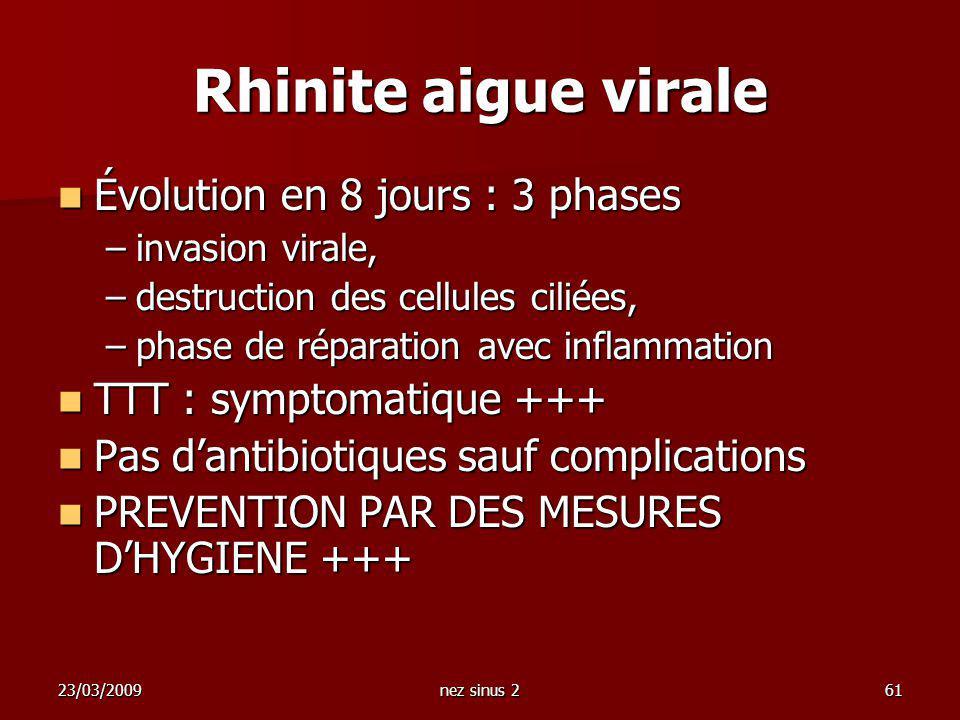 23/03/2009nez sinus 261 Rhinite aigue virale Évolution en 8 jours : 3 phases Évolution en 8 jours : 3 phases –invasion virale, –destruction des cellul