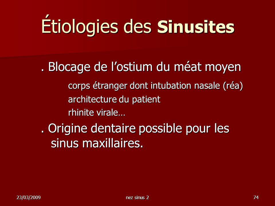 23/03/2009nez sinus 274. Blocage de lostium du méat moyen corps étranger dont intubation nasale (réa) architecture du patient rhinite virale…. Origine