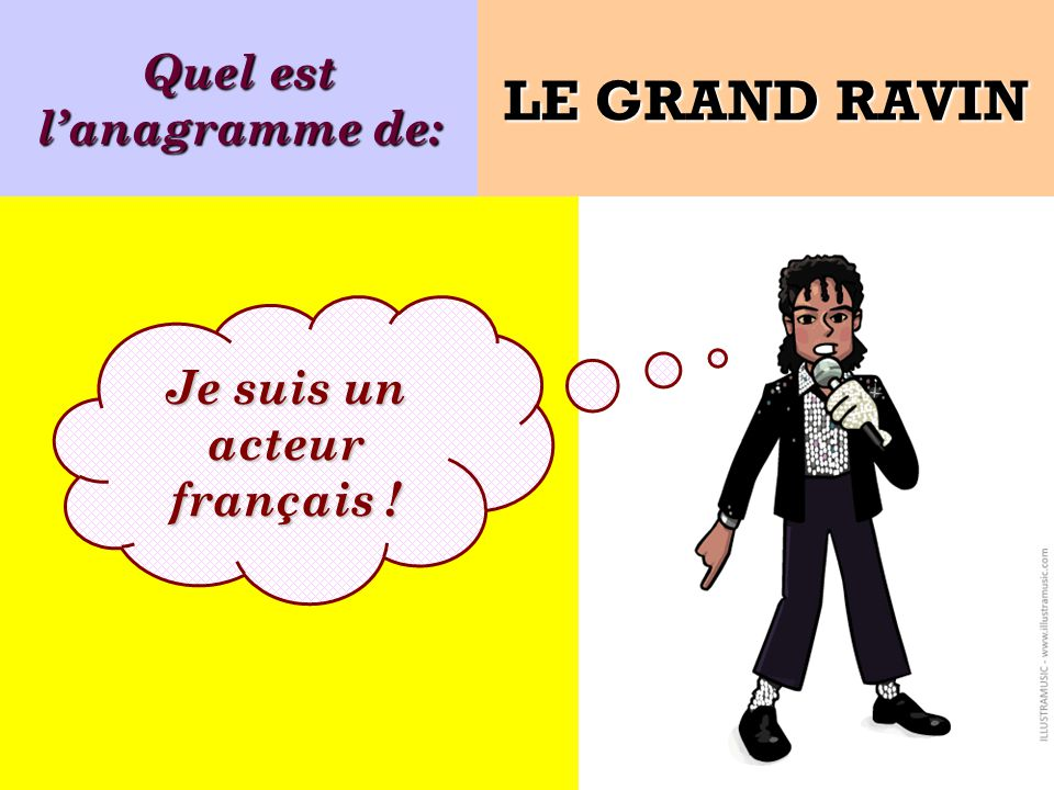 Quel est lanagramme de: Je suis un acteur français ! LE GRAND RAVIN
