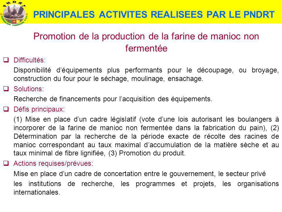 PRINCIPALES ACTIVITES REALISEES PAR LE PNDRT Promotion de la production de la farine de manioc non fermentée Difficultés: Disponibilité déquipements p
