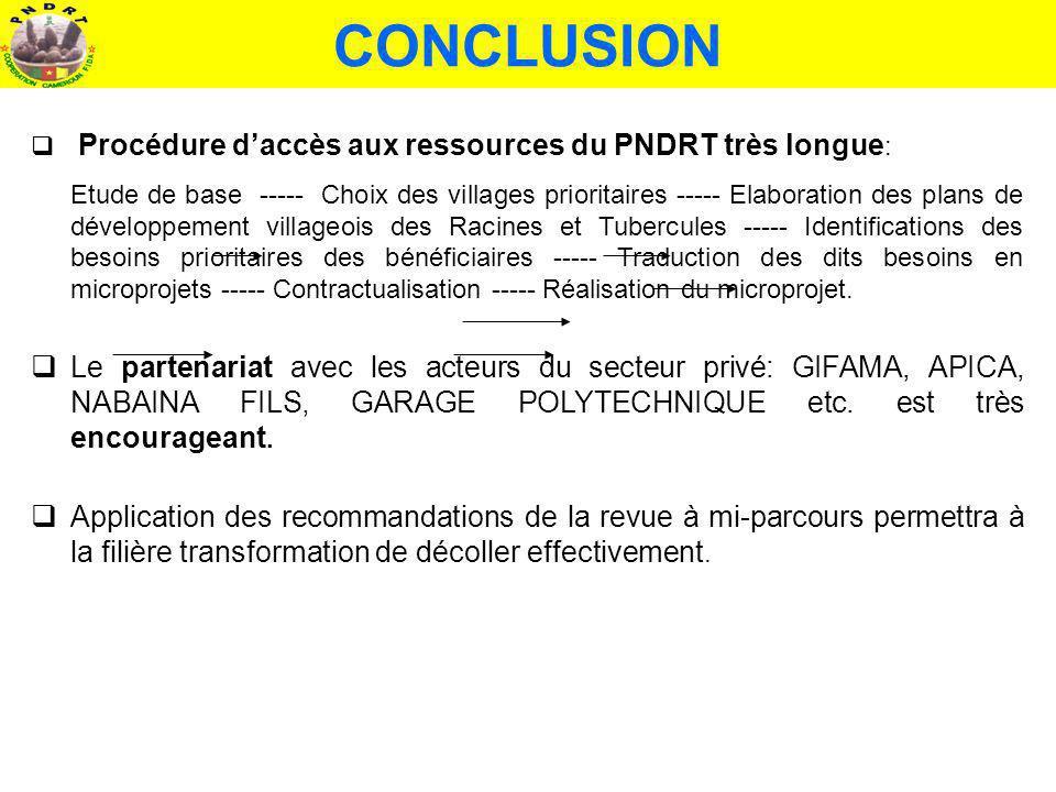 CONCLUSION Procédure daccès aux ressources du PNDRT très longue : Etude de base ----- Choix des villages prioritaires ----- Elaboration des plans de d