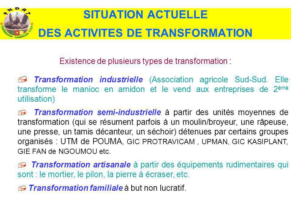 Existence de plusieurs types de transformation : Transformation industrielle (Association agricole Sud-Sud. Elle transforme le manioc en amidon et le