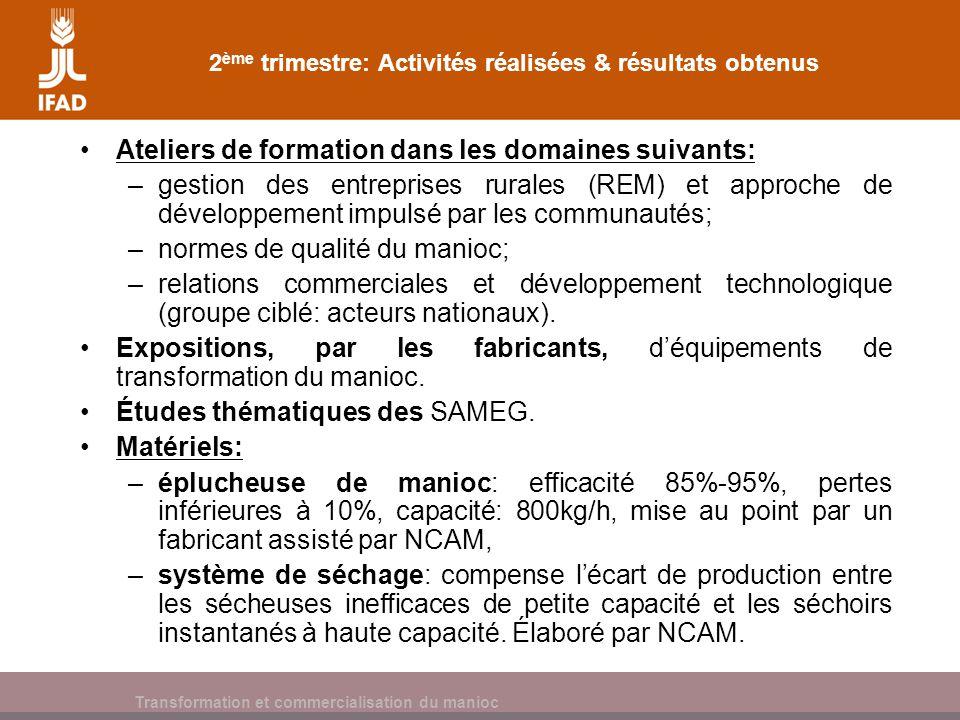 Cassava processing and marketing 2 ème trimestre: Activités réalisées & résultats obtenus Ateliers de formation dans les domaines suivants: –gestion d