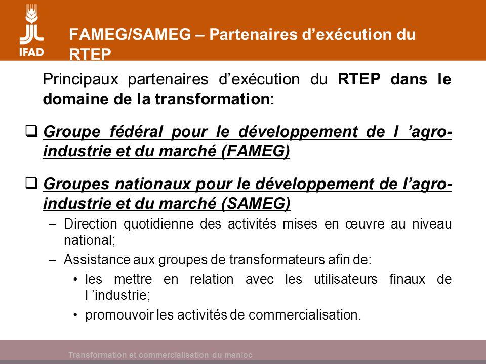 Cassava processing and marketing FAMEG/SAMEG – Partenaires dexécution du RTEP Principaux partenaires dexécution du RTEP dans le domaine de la transfor