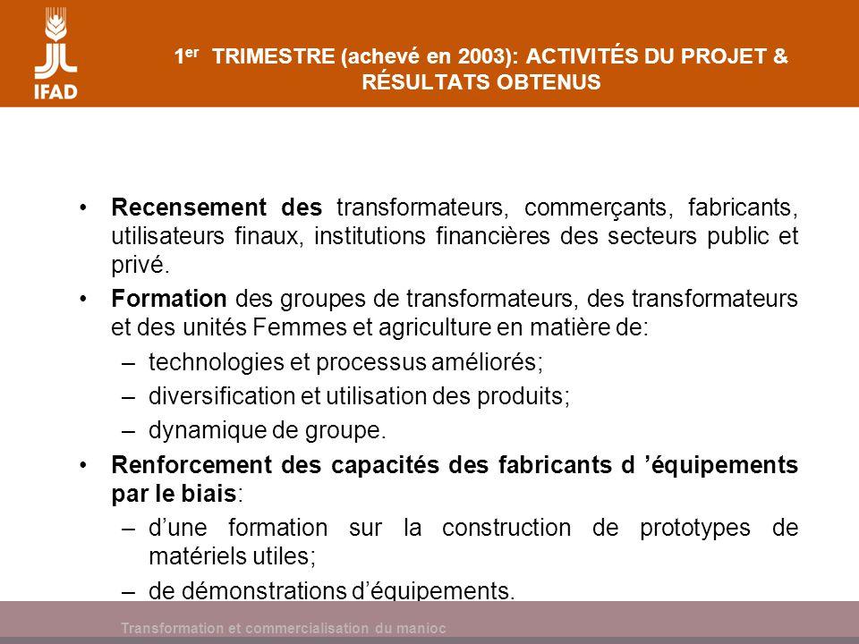 Cassava processing and marketing 1 er TRIMESTRE (achevé en 2003): ACTIVITÉS DU PROJET & RÉSULTATS OBTENUS Formation des SAMEG/groupes dans les domaines suivants: –élaboration des rapports de faisabilité; –dynamique de groupe.